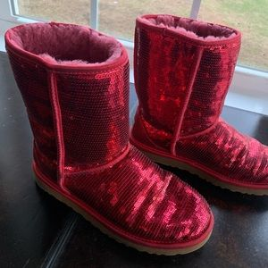 Uggs Size 9 Red Sparkle
